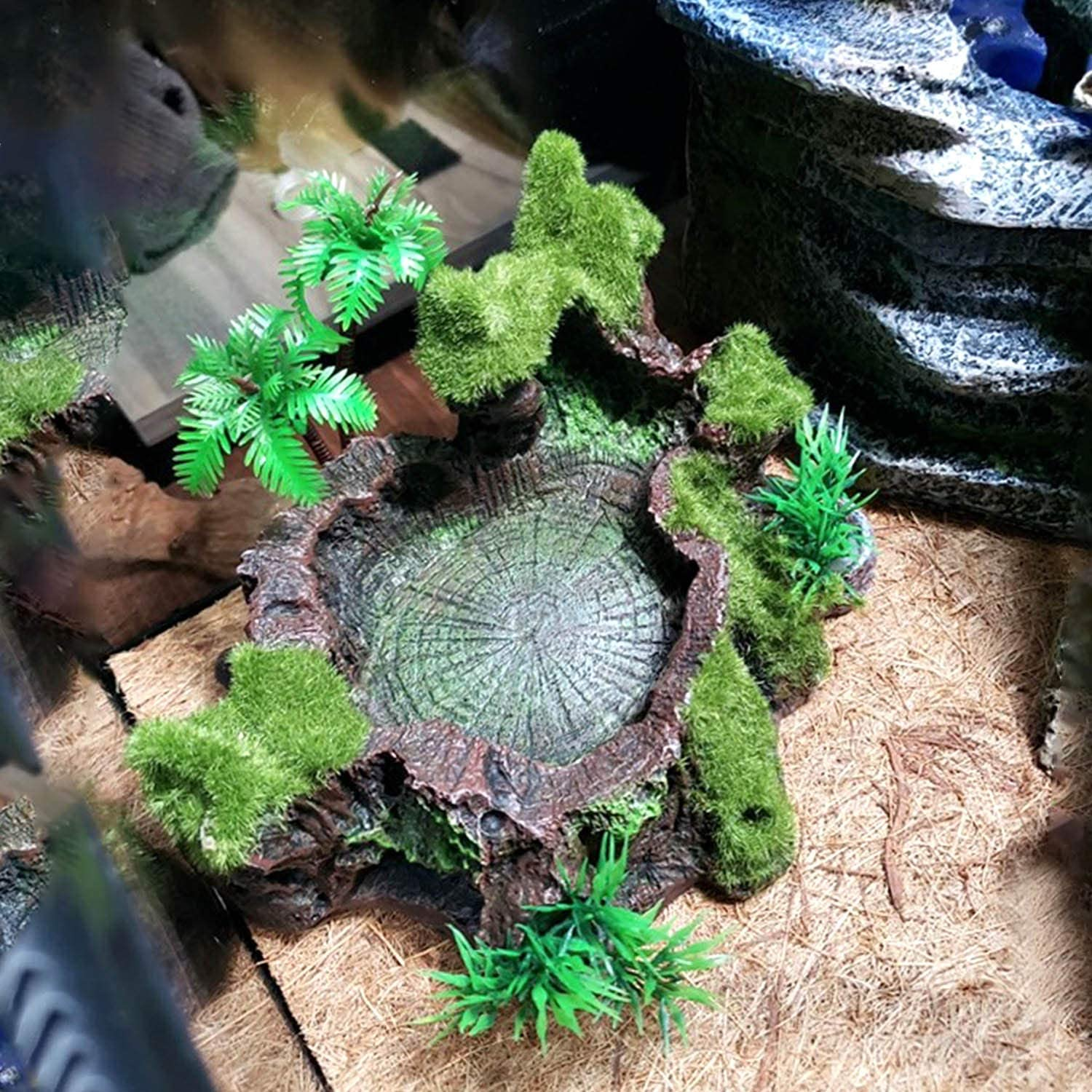 Resin Reptile Feeder, Artificial Tree Trunk Decoration Animal Food Water Bowl, Anti-Escape Reptile Feeder, for Lizard, Gecko, Water Frog, Other Reptile