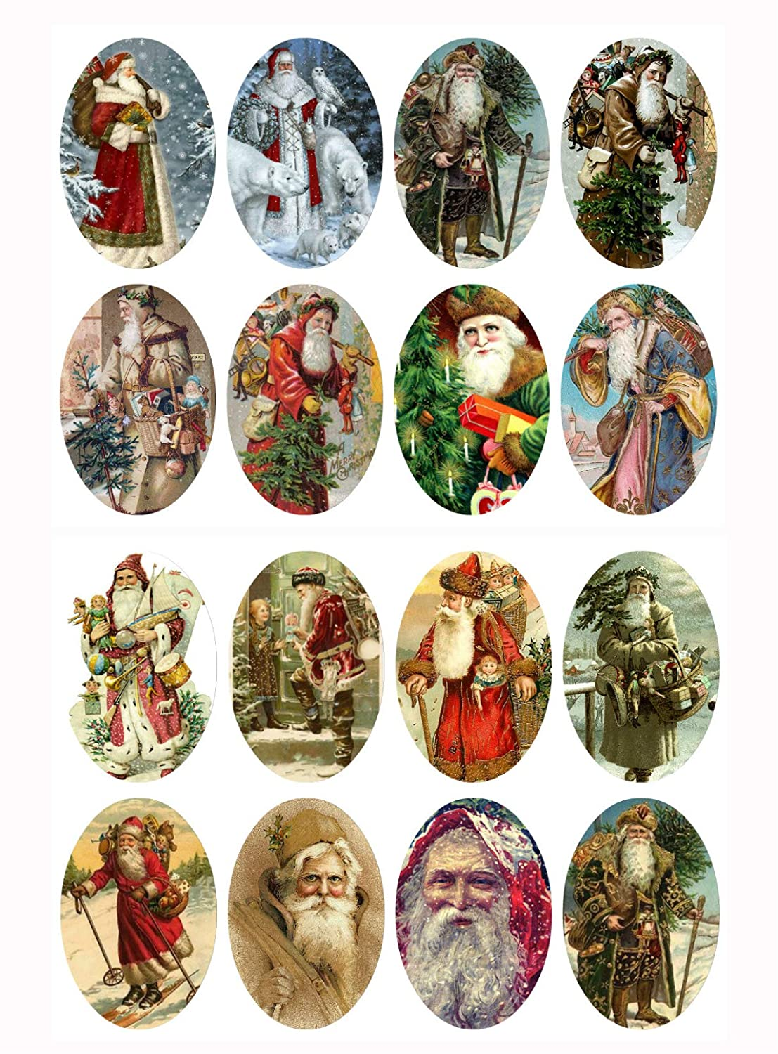 Assorted Vintage Santa Ovals Christmas 2 x 1 1/4 Collage Sheet Paper Moon Media