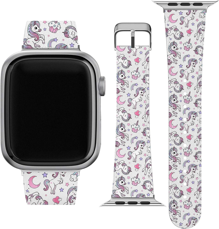 Lex Altern Band Compatible with Apple Watch Series 6 SE 5 4 3 2 1 38mm 40mm 42mm 44mm Rainbow Cupcake Pony Cute Print Stylish Kawaii Unicorn Stars Thin Durable Wristband PU Leather Strap wh036