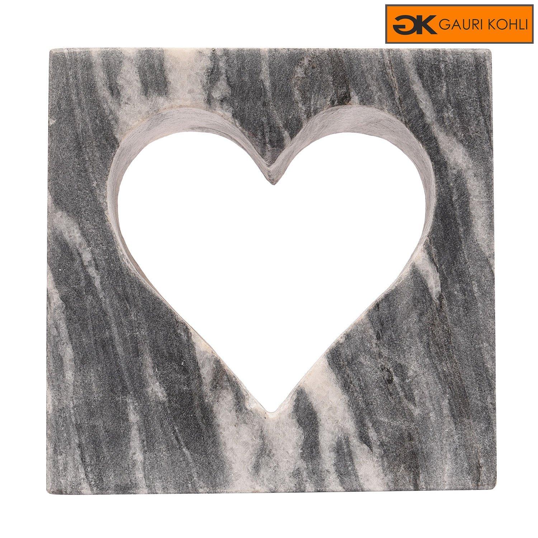 GAURI KOHLI: Heart Shaped Sculpture Made of Nadi Grey Marble | Both For Indoor & Outdoor (Size Medium)