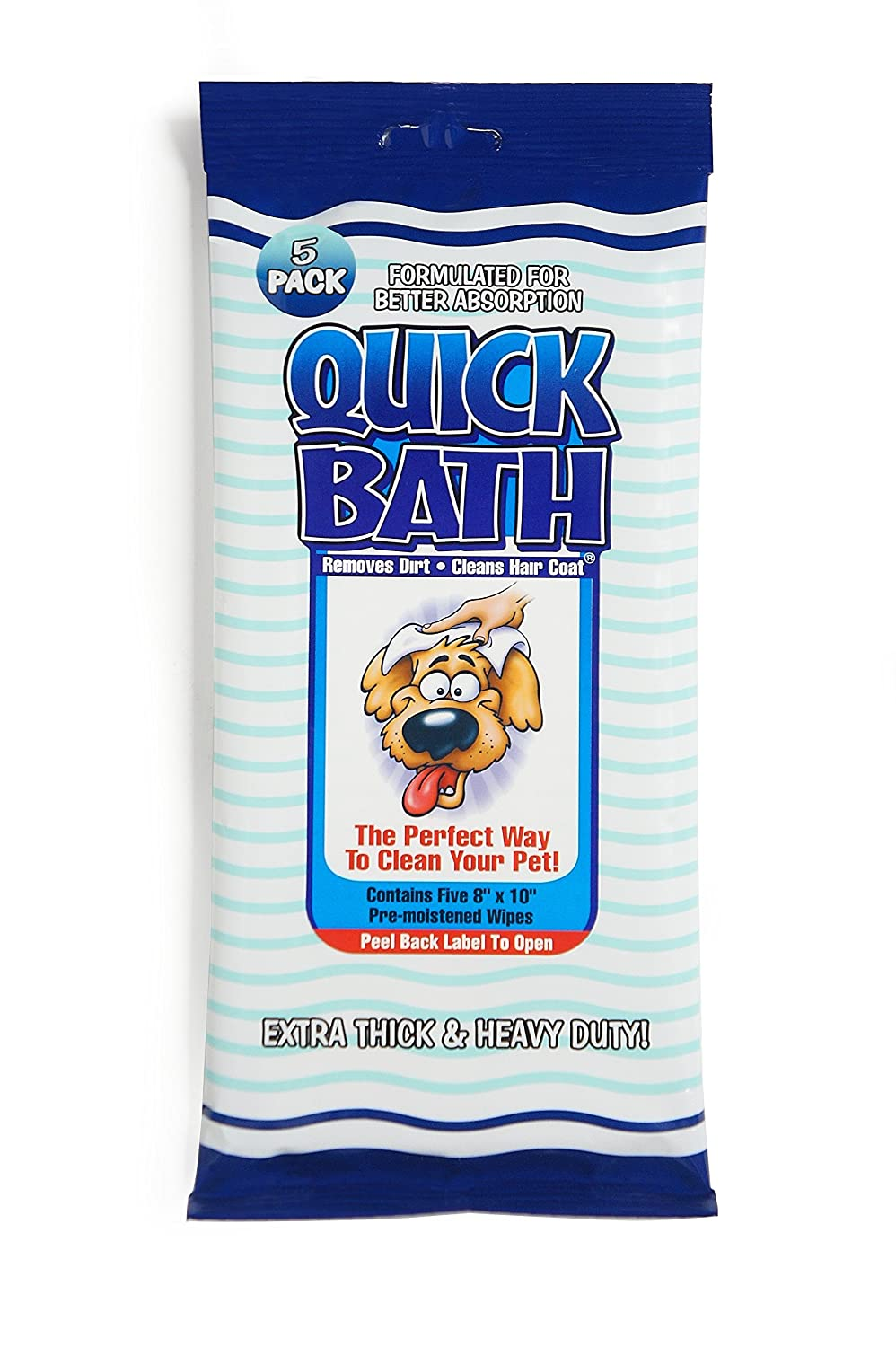Quick Bath Dog Wipes, Reduces Odor & Bacteria with All-Natural Skin Conditioners and Cleaners, Extra Thick & Heavy Duty 10 Count 01089