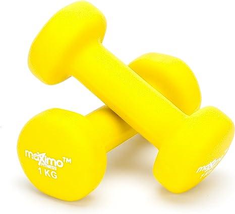 Ideal para Hombres y Mujeres. Orange - 2kg x 2 - Pesas de Mano Desarrollo de Fuerza Maximo Fitness Mancuernas de Neopreno Tonificaci/ón Muscular Gimnasia en Casa y Rehabilitaci/ón Par