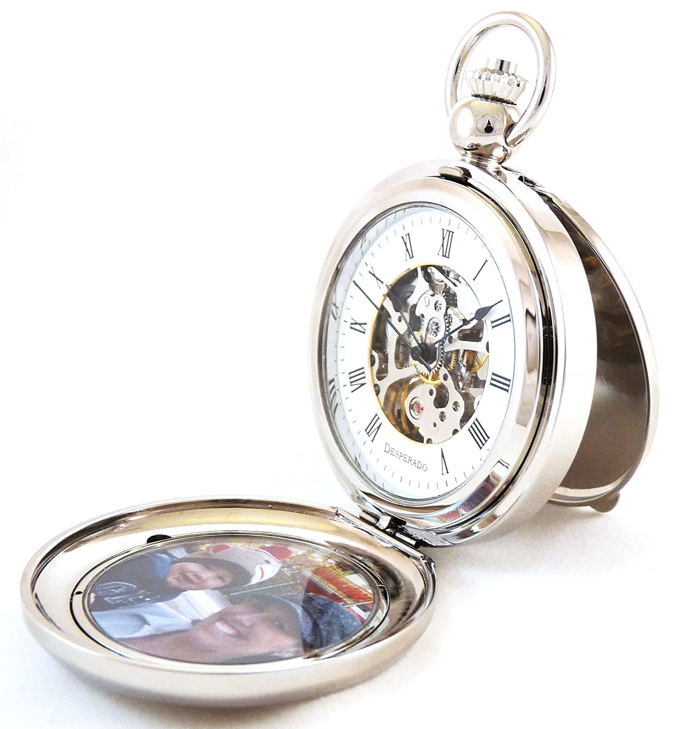 Amazon desperado riverside chrome photo insert picture amazon desperado riverside chrome photo insert picture frame pocket watch built in stand watches jeuxipadfo Image collections