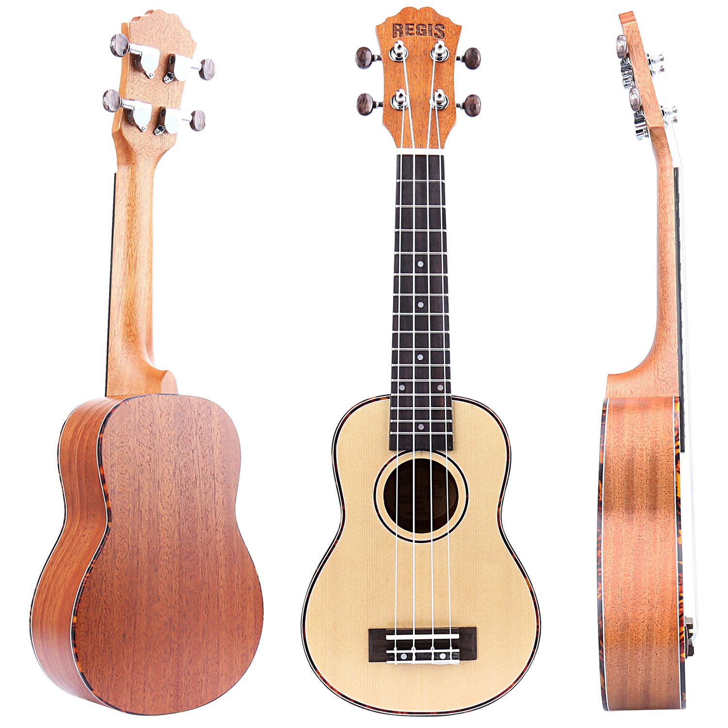 REGIS 21 Inch Soprano Ukulele with Aquila Strings, OX Bone Saddle (Zebrano) RU-15
