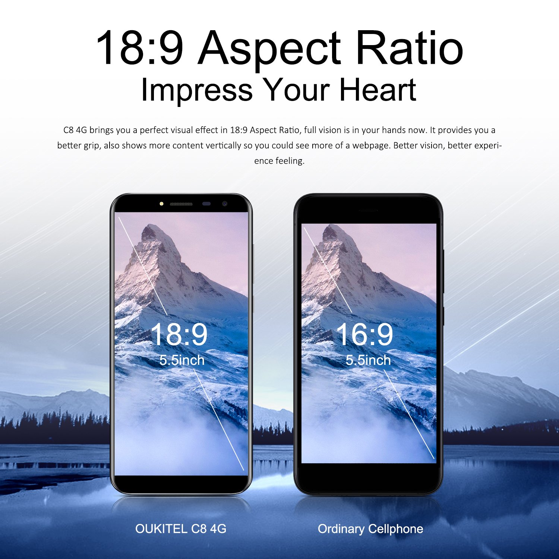 OUKITEL C8 4G Smartphone 3000mAh Android 7 0 Quad Core Amazon Elektronik