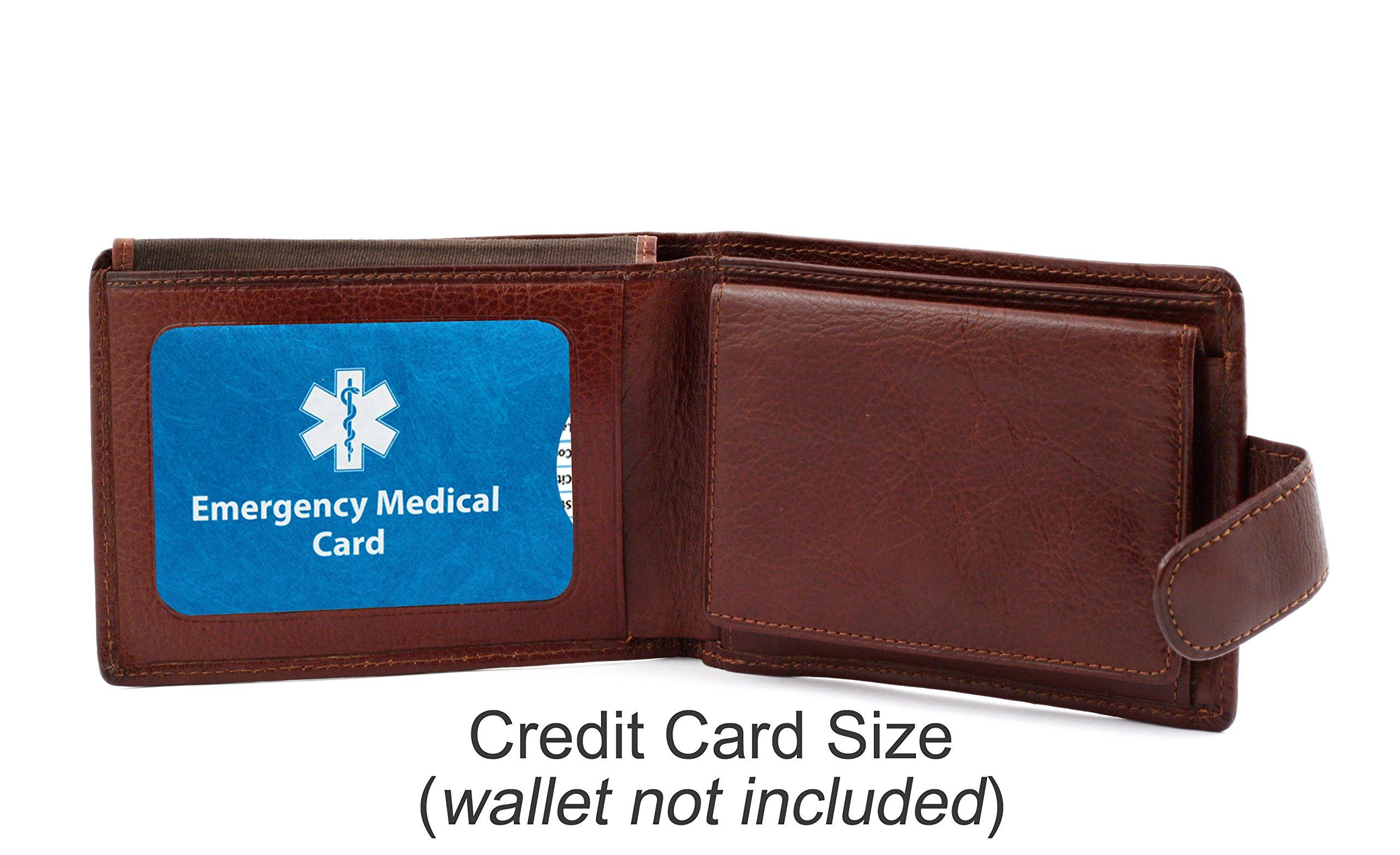 Pack of 4 Emergency Medical ID Cards and Tyvek Sleeves ***BONUS*** Silicone In Case of Emergency Medical Card Holder
