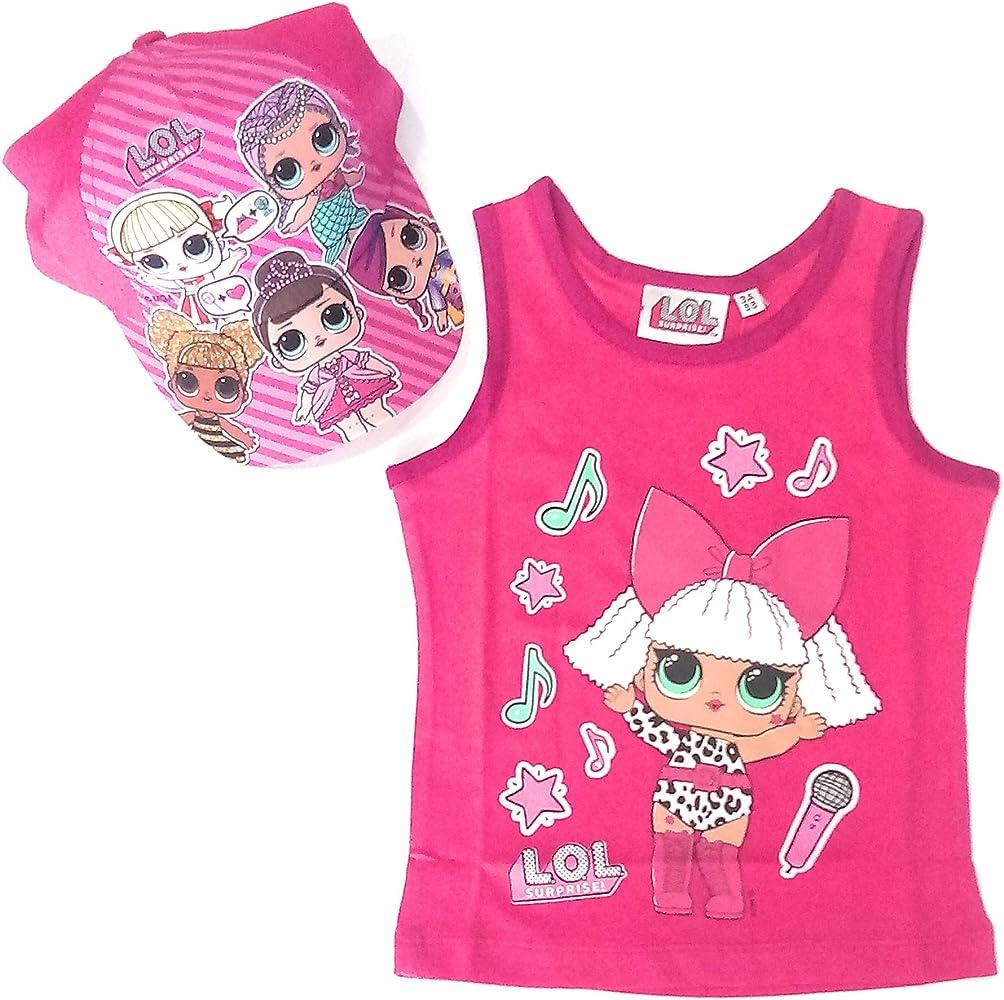 LoL Surprise Camiseta Tirantes Algodón + Gorra (Fucsia, 3 años): Amazon.es: Ropa y accesorios