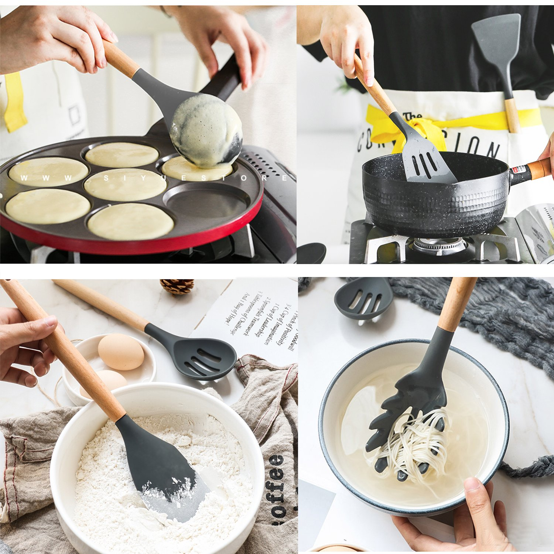 Cooking Utensils,8 Piece Kithcen Utensils Set,Shxmlf Wood Utensils Set Wood Spoon Spatula Set, Non-stick Utensil Set,Gray Kitchen Utensils, Eco-friendly(8) by shxmlf (Image #2)