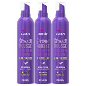 Aussie Leave In Conditioner & Mousse, with Jojoba & Sea Kelp, Sprunch, For Curly Hair, 6.8 fl oz, Triple Pack