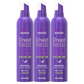 Amazon Com Aussie Leave In Conditioner Mousse With Jojoba Sea Kelp Sprunch For Curly Hair 6 8 Fl Oz Triple Pack Beauty