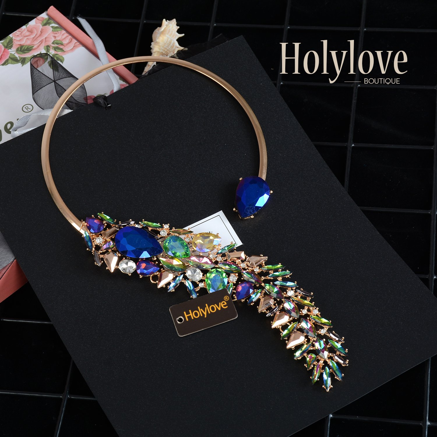 Holylove Women Costume Necklace Colorful, Statement Necklace for Women Novelty Fashion Jewelry 1 pc with Gift Box- HLN0008 Colorful by Holylove (Image #4)