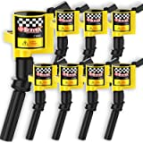 High Performance Pack of 8 Curved Boot - Upgrade 15% More Energy Ignition Coil for Ford F150 F250 F350 Lincoln Mercury 4.6L 5