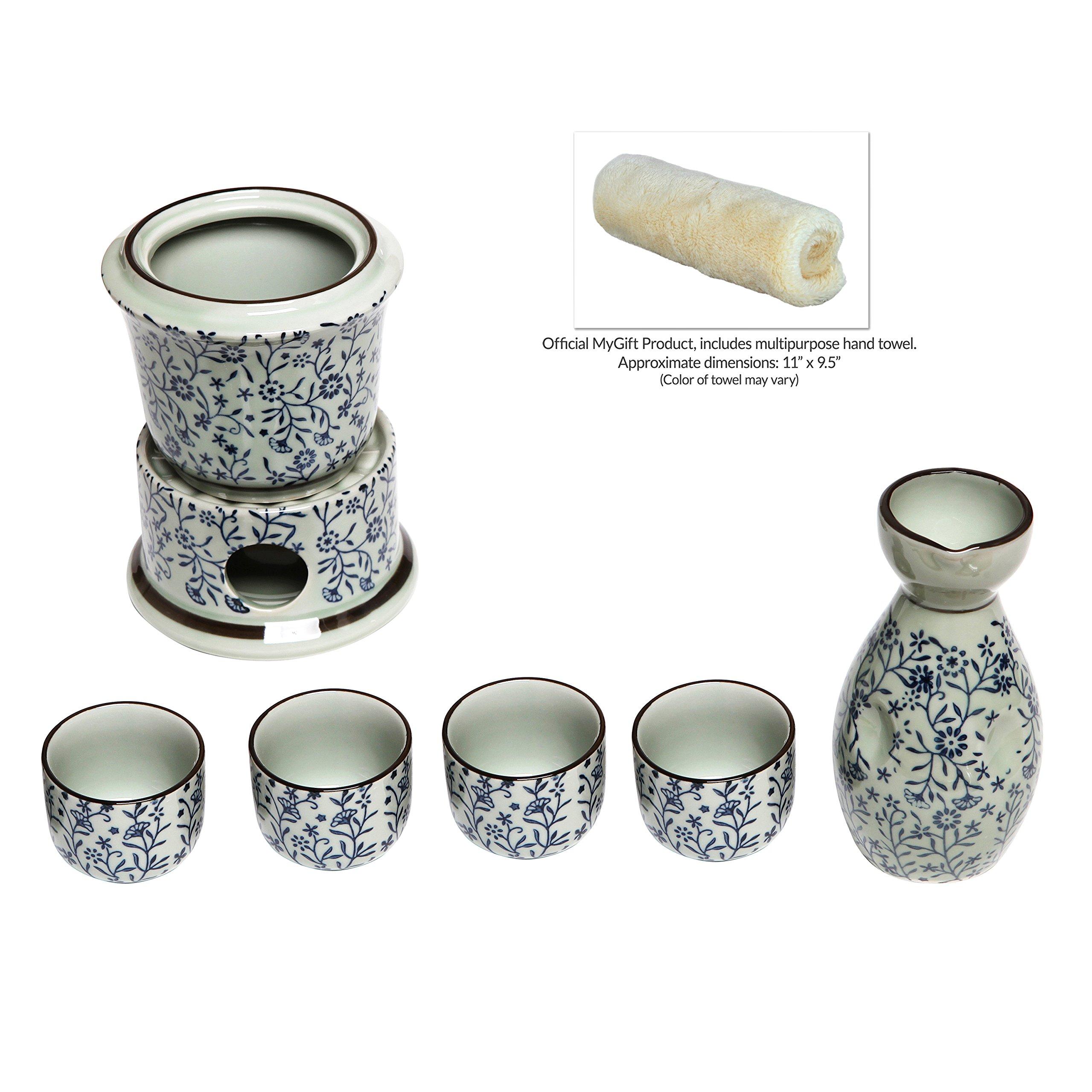 Exquisite Ceramic Blue Flowers Japanese Sake Set w/ 4 Shot Glass/Cups, Serving Carafe & Warmer Bowl by MyGift (Image #4)