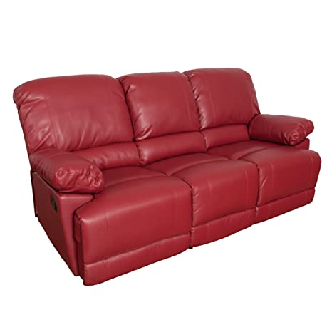 CorLiving LZY-351-S Lea Leather Reclining Sofa Red