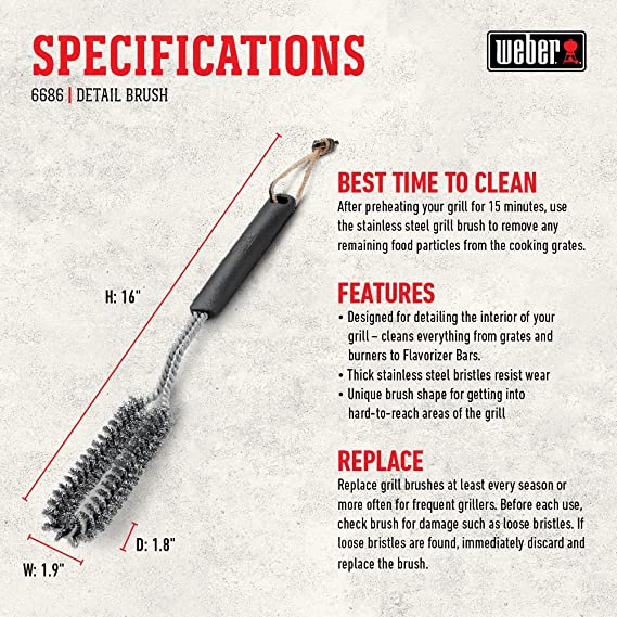 Weber Grill Cleaning Brush T-Shaped 53 cm Stainless Steel Bristles