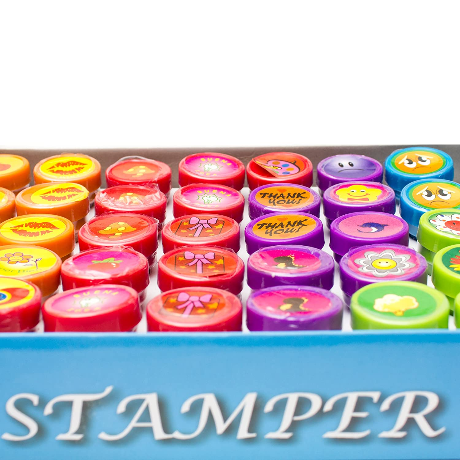 Stamp Sets for Kids for Party Favors Rubber Stamps for Kids Prizes Fun Central AU199 50pcs Assorted Stampers Rewards Gifts