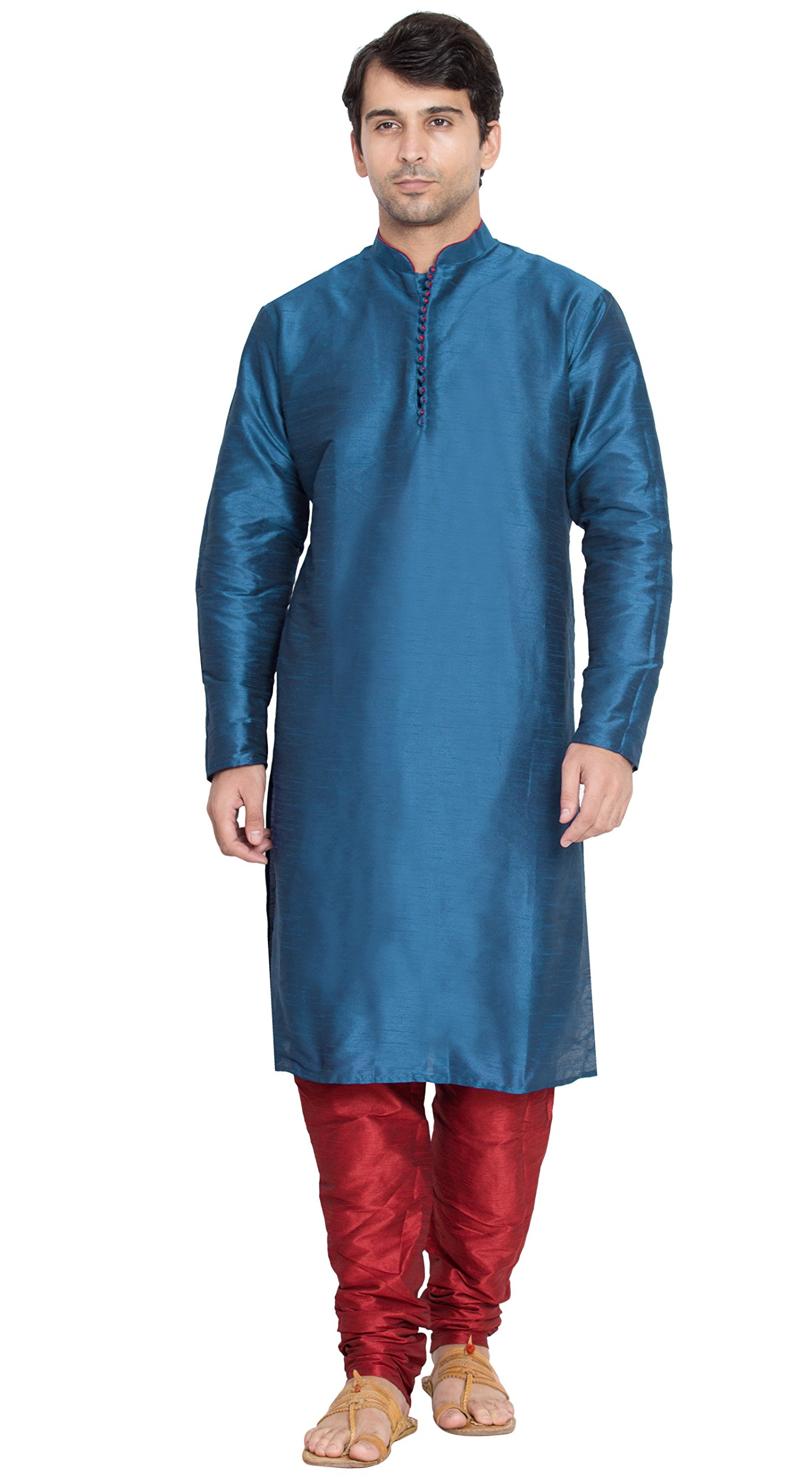 Indian Kurta Pajama Handmade Long Sleeve Shirt Traditional Turquoise Summer Dress -L