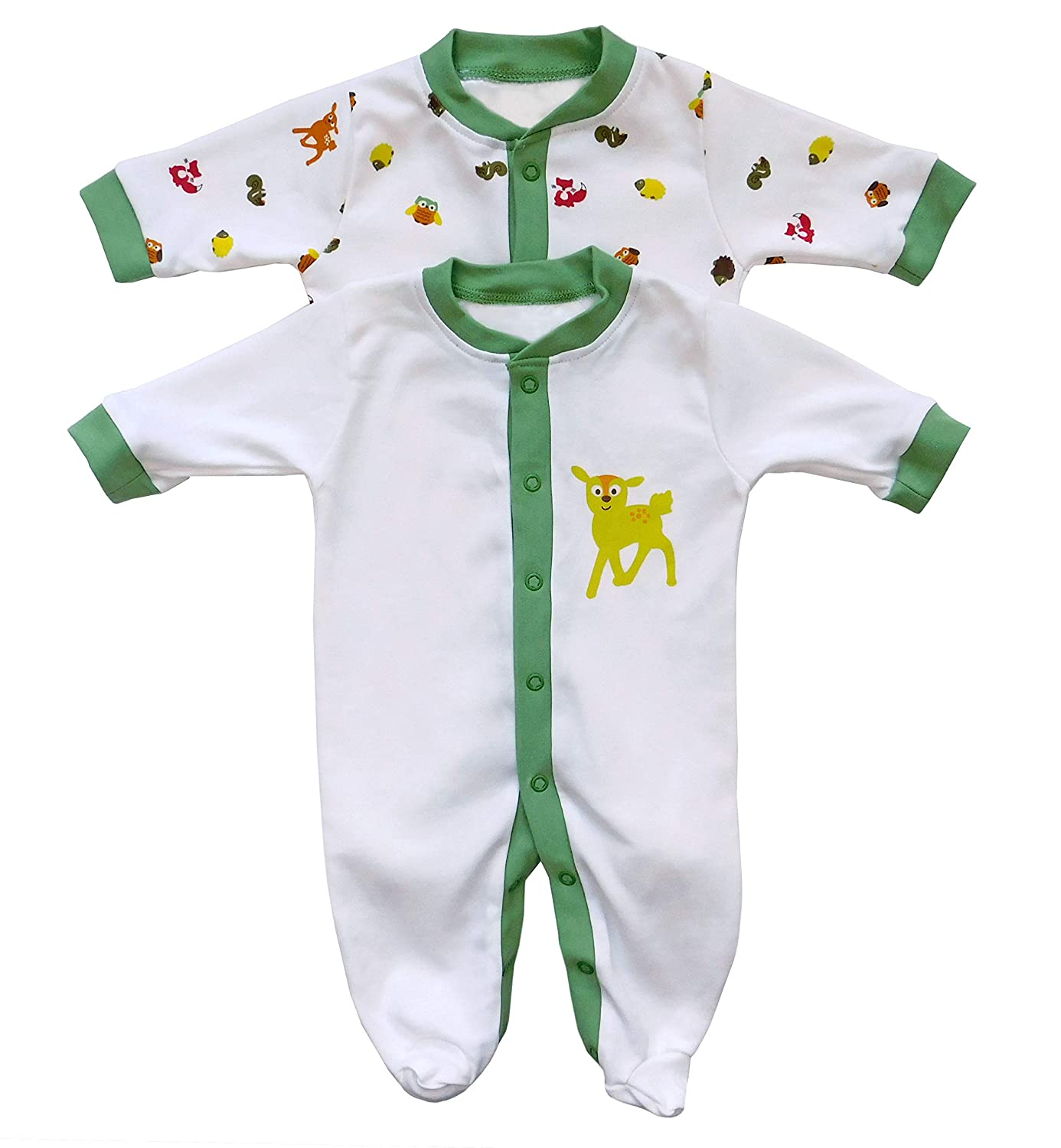 2 Pack Slumbersac Baby Sleepsuit Long Sleeve Forest Friends Size 68cm//3-6 Months