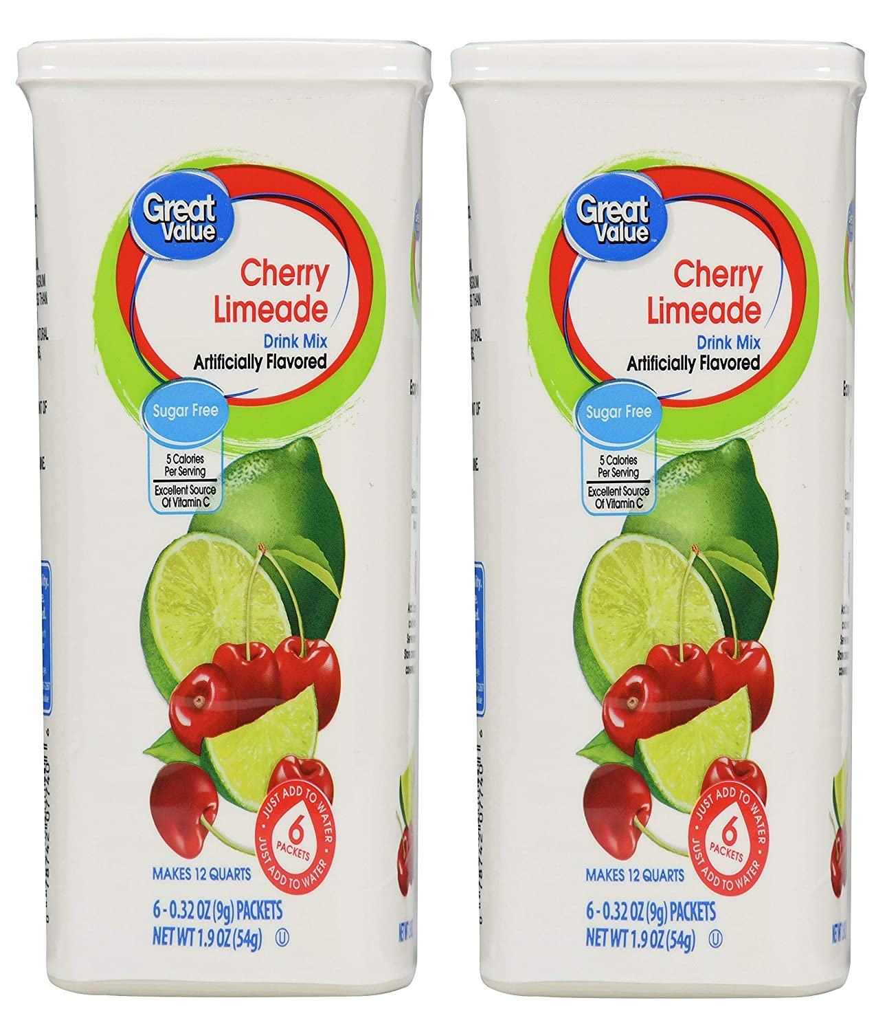 Great Value: Cherry Limeade Drink Mix, 1.9 Oz - 6 Packets (Pack of 2)