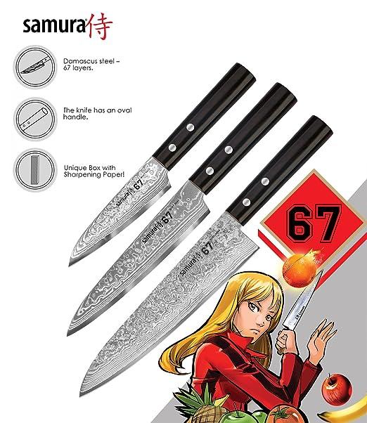 Samura Chef - Juego de 3 cuchillos esenciales de acero ...