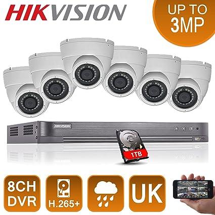 6 x full HD 1080p sistema DVR 8 canales Hikvision CCTV HDMI P2P Seguridad Cámaras Domo