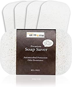 Peachy At Home Premium BPA-Free Soap Dish |100% Recyclable Eco-Friendly Soap Saver | Odor, Mold Resistance Soap Lift | Non-Slip Bath Soap Holder (White [4pack])