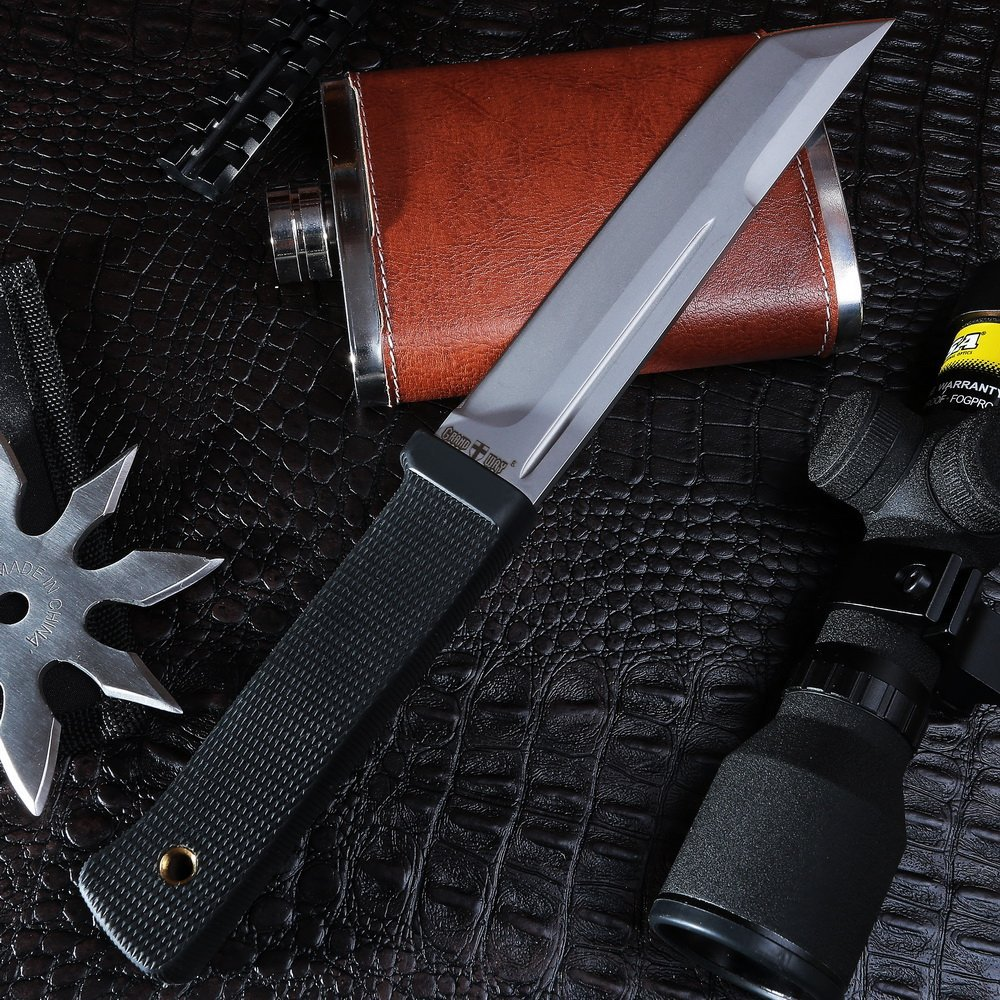 Grand Way Tanto Fixed Blade Knife - Stainless Steel Japanese Tanto Blade Knives - Black Tactical Military Survival Traditional Ninja Knife with Sheath 2787 U-A by Grand Way (Image #4)