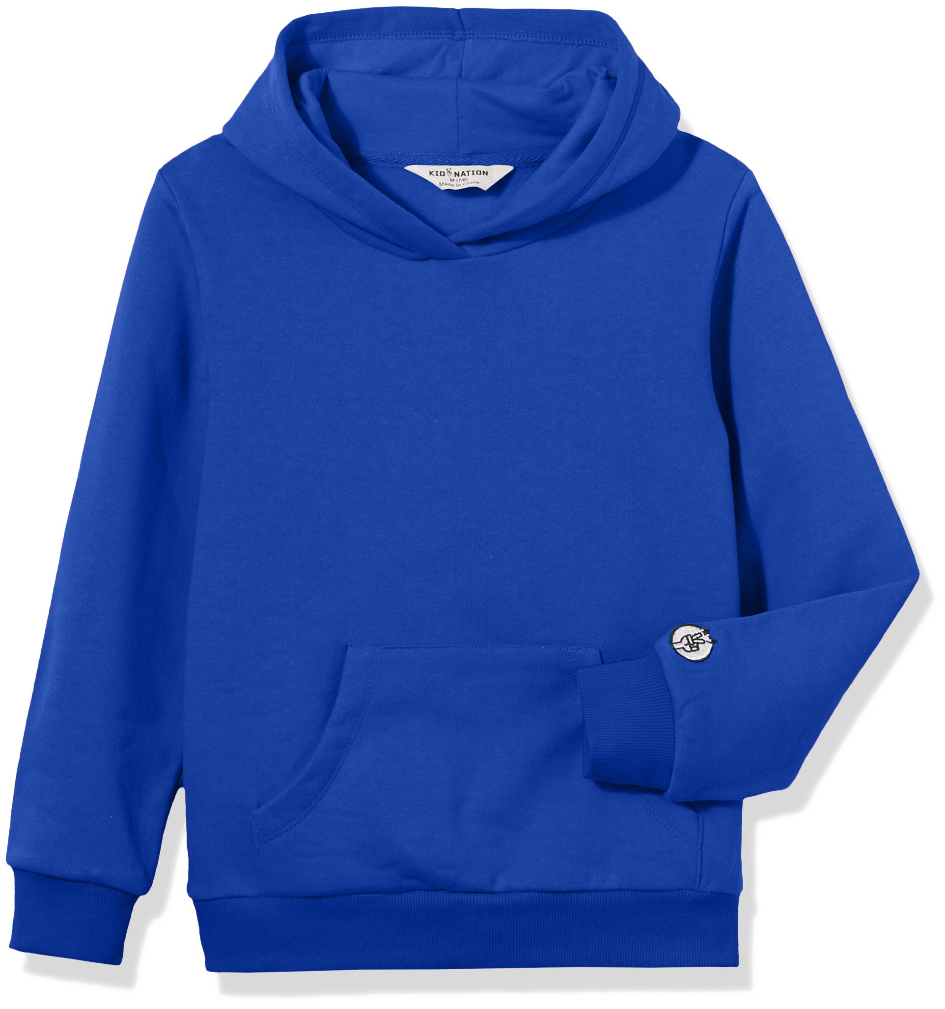 Kid Nation Kids' Solid Fleece Hooded Pullover Sweatshirt for Boys Or Girls S Blue 01