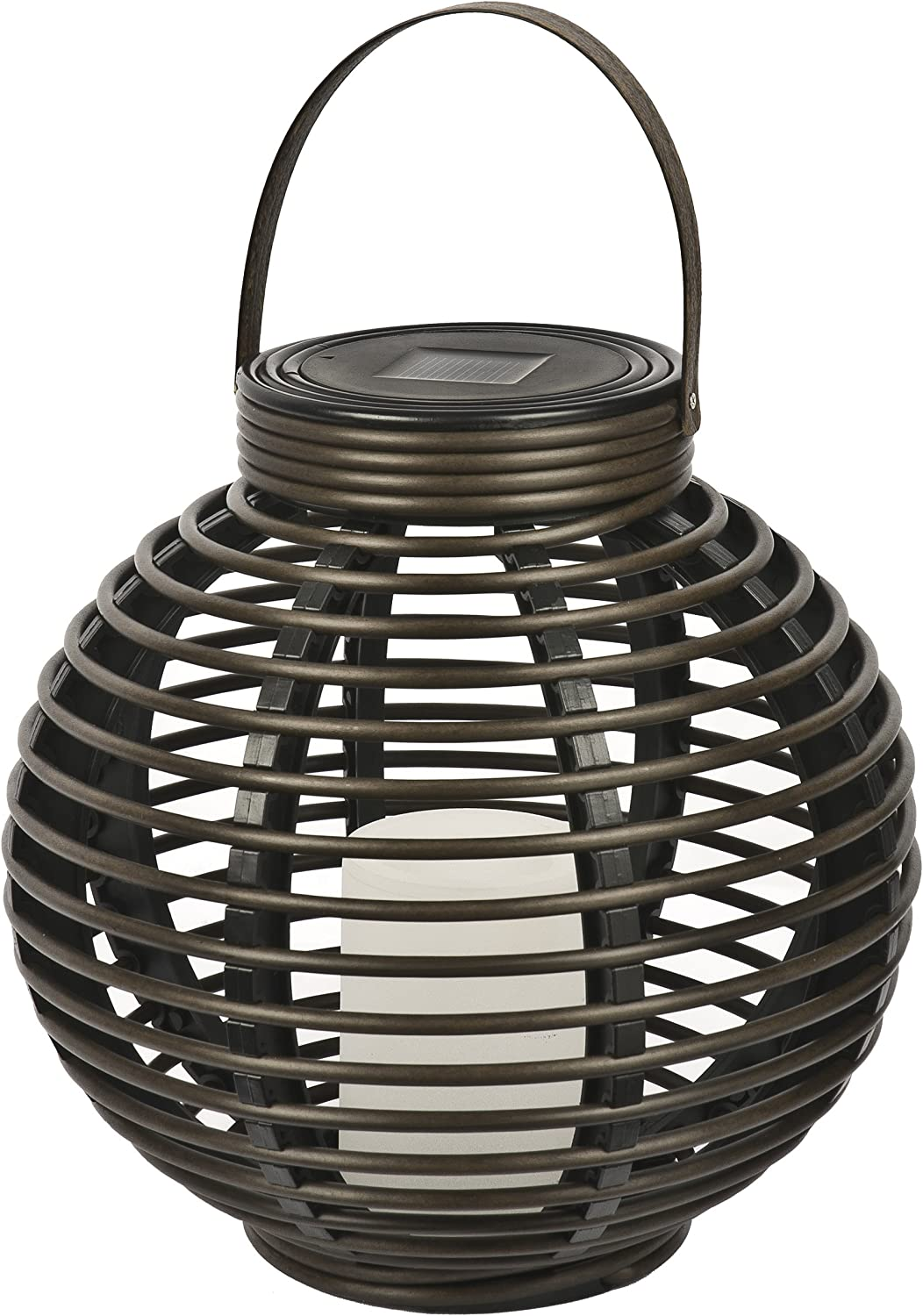 Paradise by Sterno Home Solar Flickering LED Round Rattan Basket Outdoor Light, Brown