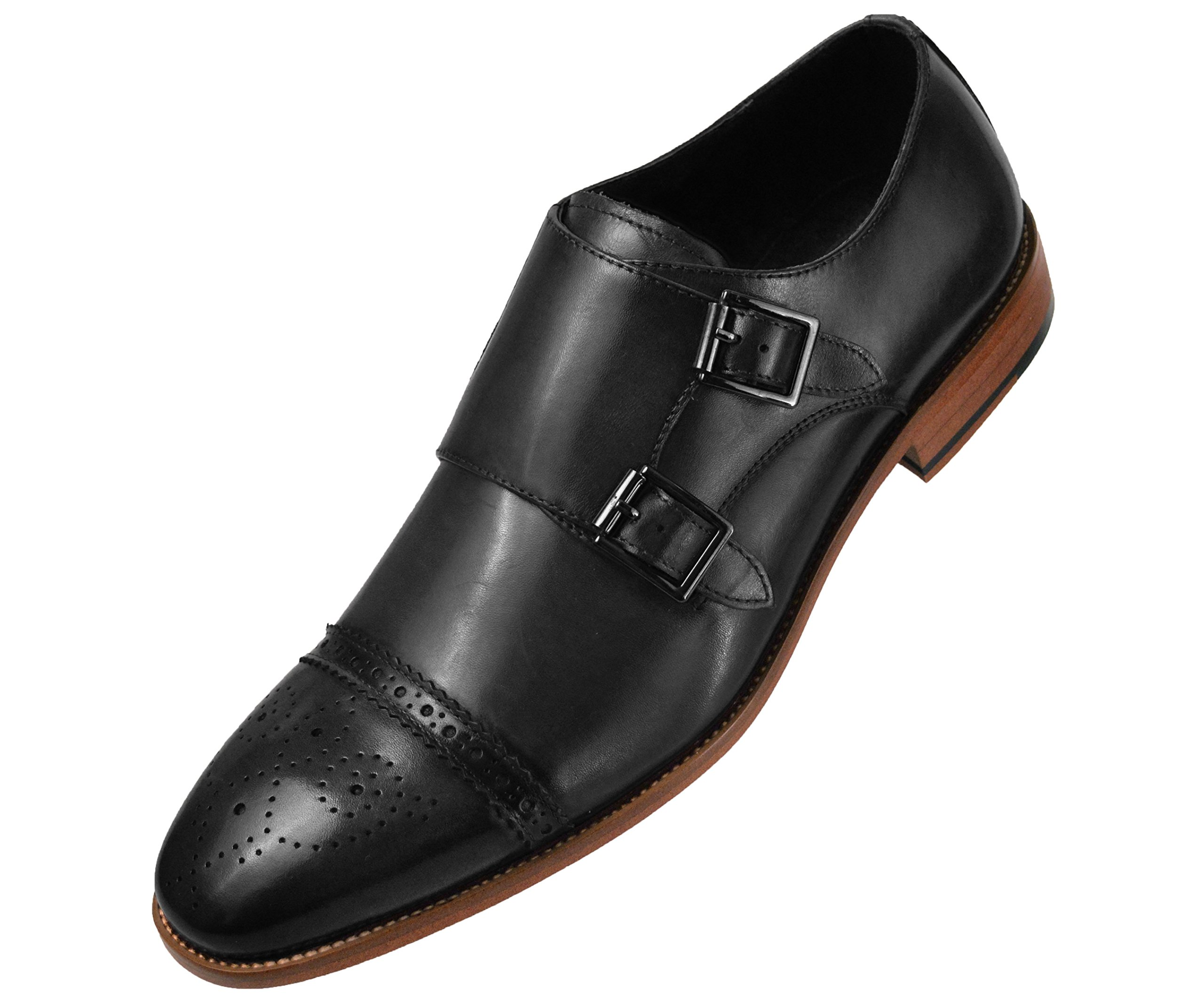 Asher Green Mens Dress Shoes, Genuine Calf Leather Cap Toe, Comfortable Double Monk Strap