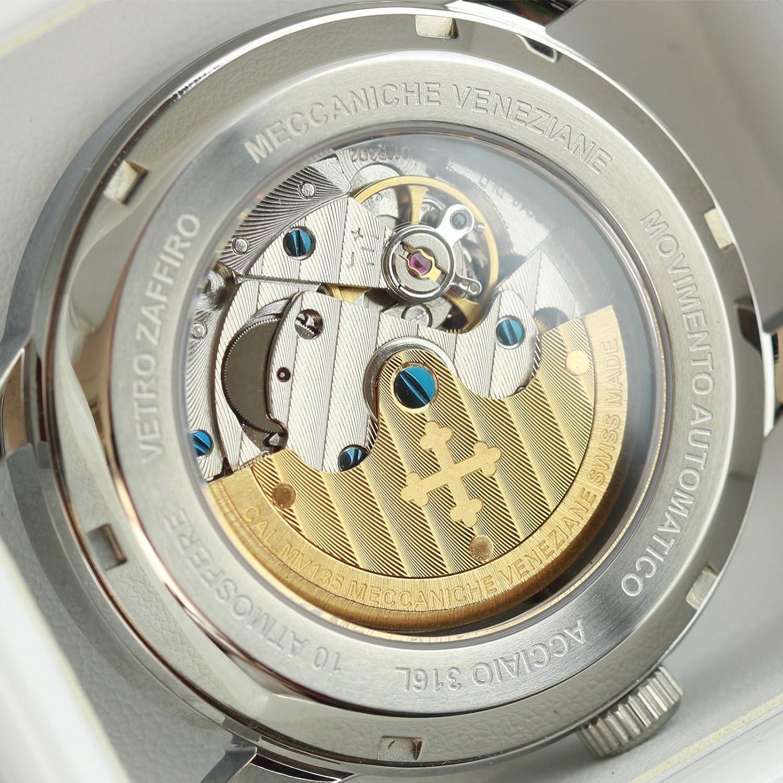 Meccaniche Veneziane Redentore Reloj Automático Suizo Hecho para Hombres con Cuero Italiano (Cobalto Azul): Amazon.es: Relojes