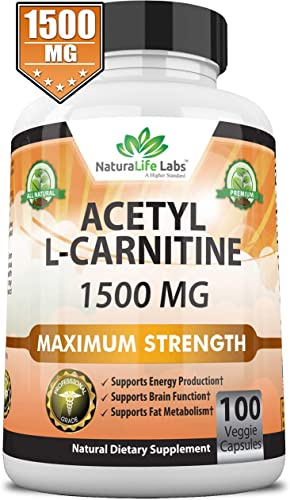 Acetyl L-Carnitine 1,500 mg High Potency Supports Natural Energy Production, Supports Memory Focus – 100 Veggie Capsules