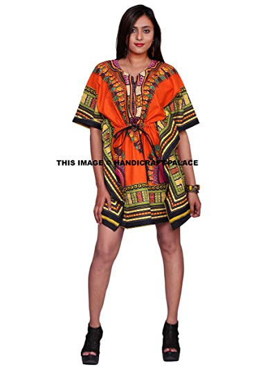 bf692ef378 Image Unavailable. Image not available for. Color: African Women's Dashiki  Caftan Short Orange Beach Cover ...