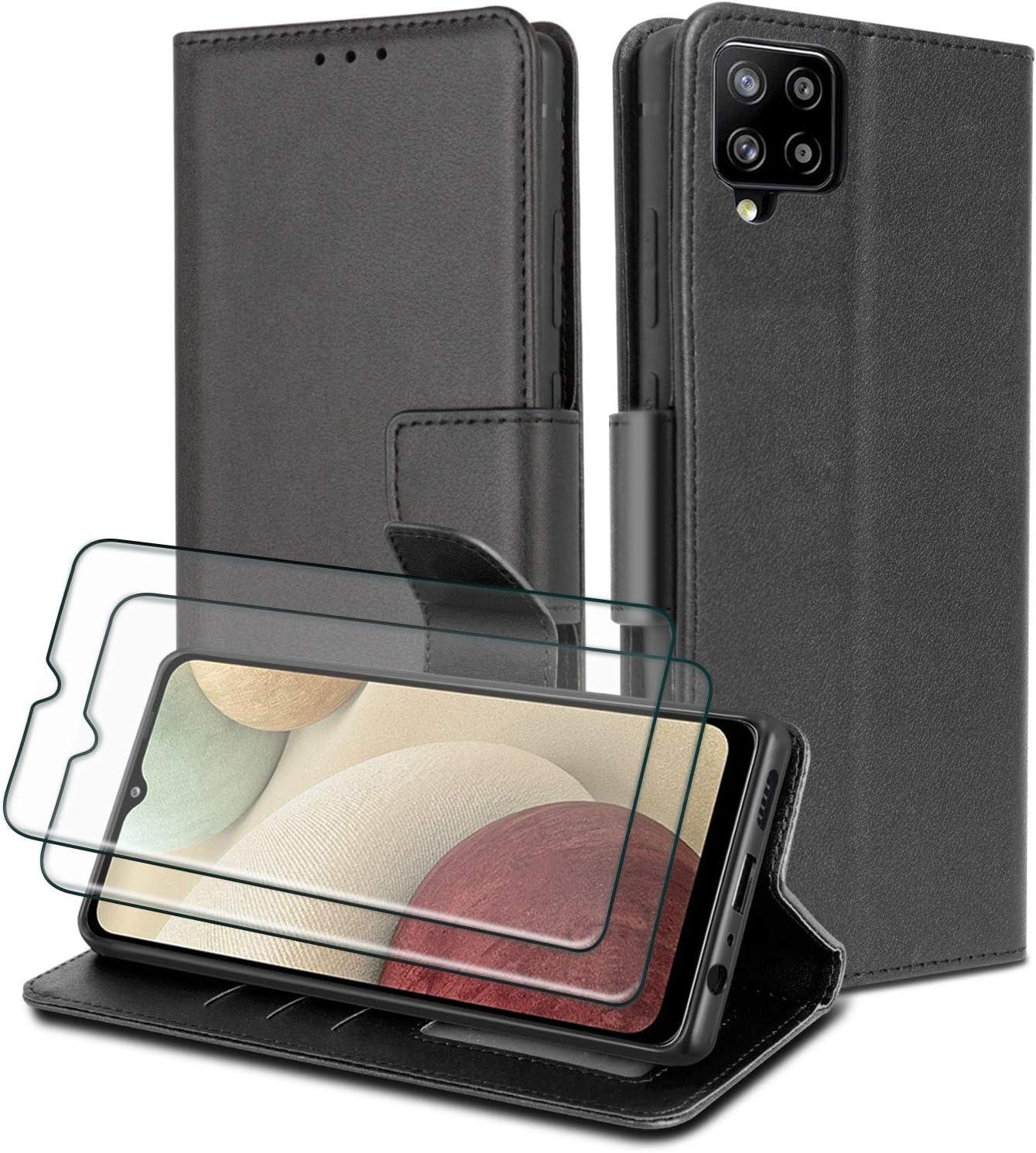 WuGlrz Funda para Samsung Galaxy A12 con 2 Piezas Protector de Pantalla, Lujo PU Cuero Billetera Carcasa con Acollador Magnético Flip Case - Negro