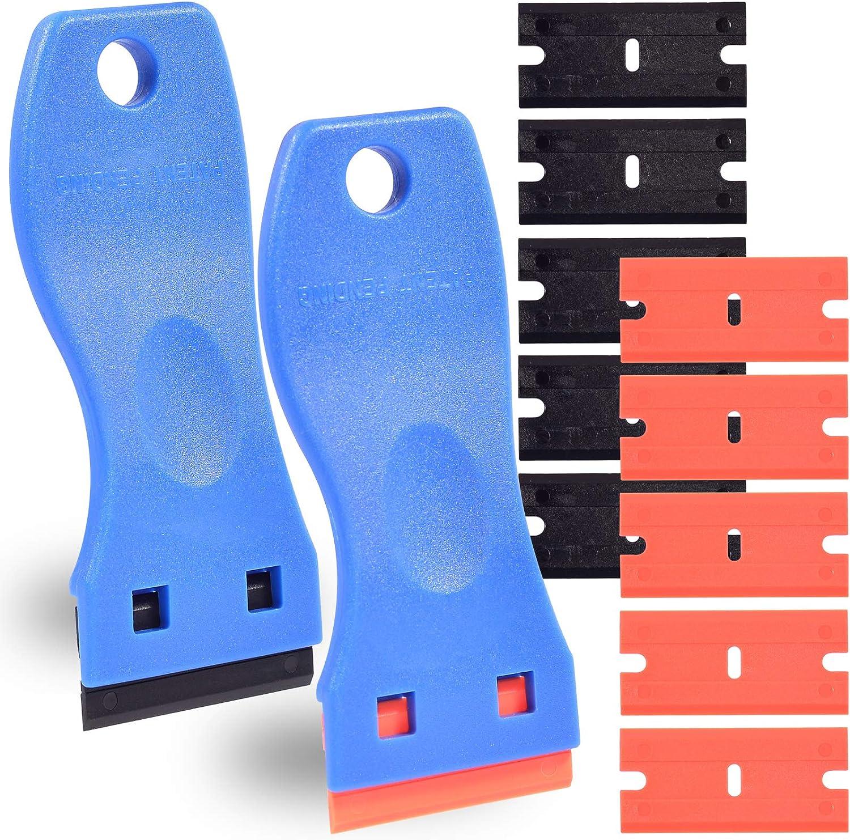 "2pcs 1.5"" Plastic Razor Scraper with Comfort Handle, Multipurpose Double Edge Blade, One-clip Change Blade, Non-scratch for 3D Printer, Kitchen, Removing Labels, Stickers, Decals, Glue"