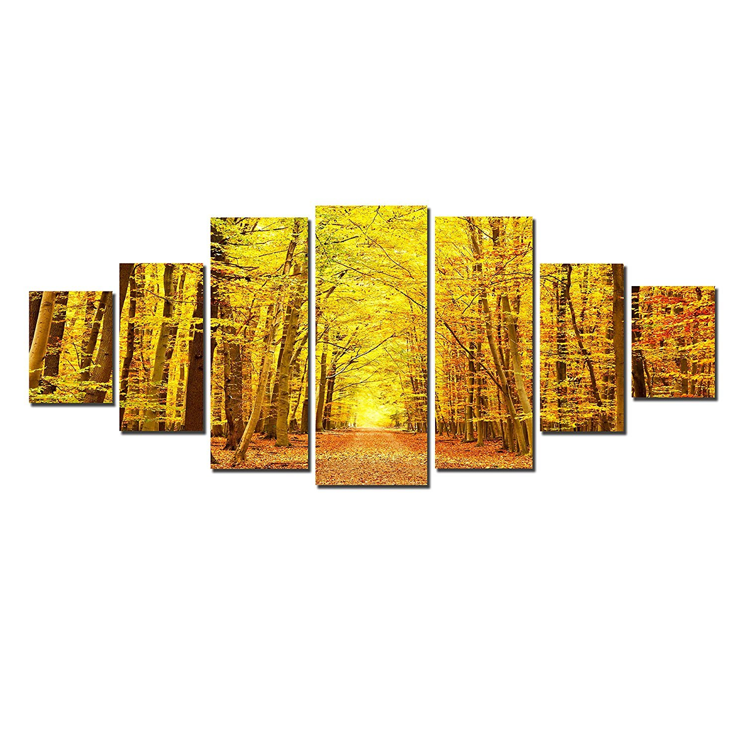 Startonight Glow in the Dark, Huge Canvas Wall Art Autumn Forest, Home Decor, Dual View Surprise Artwork Modern Framed Wall Art Set of 7 Panels Total 39.37 x 94.49 inch by Startonight