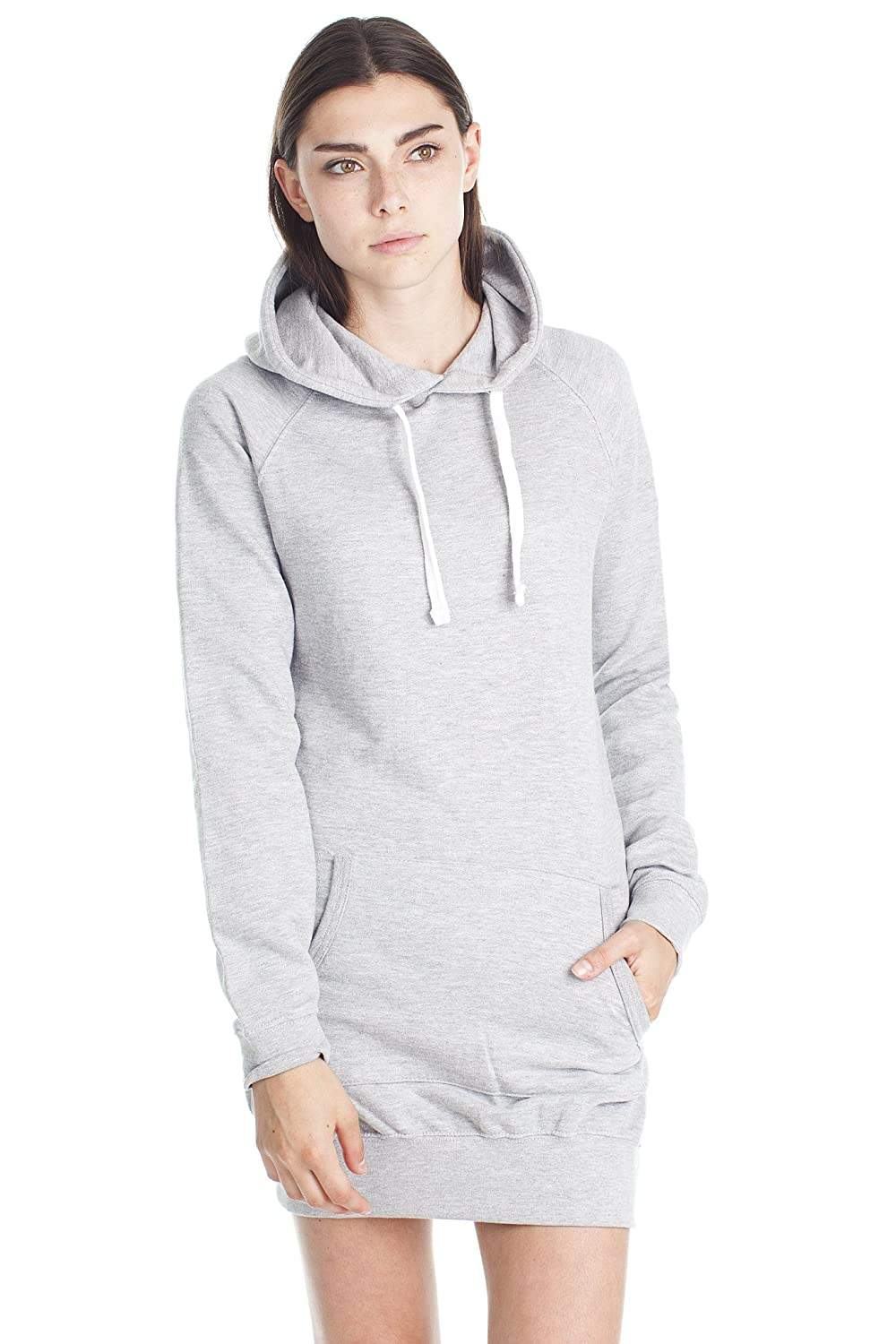 193d6ffb5ddc7 DESIGN: French terry hooded long tunic dress with kangaroo front pockets,  double layer hood and ribbed cuffs.