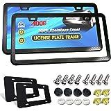 Aootf Stainless Steel License Plate Frames- Heavy Duty Black Carbon Fiber Car Tag Holder, Laser Engrave Carbon Pattern, Slim