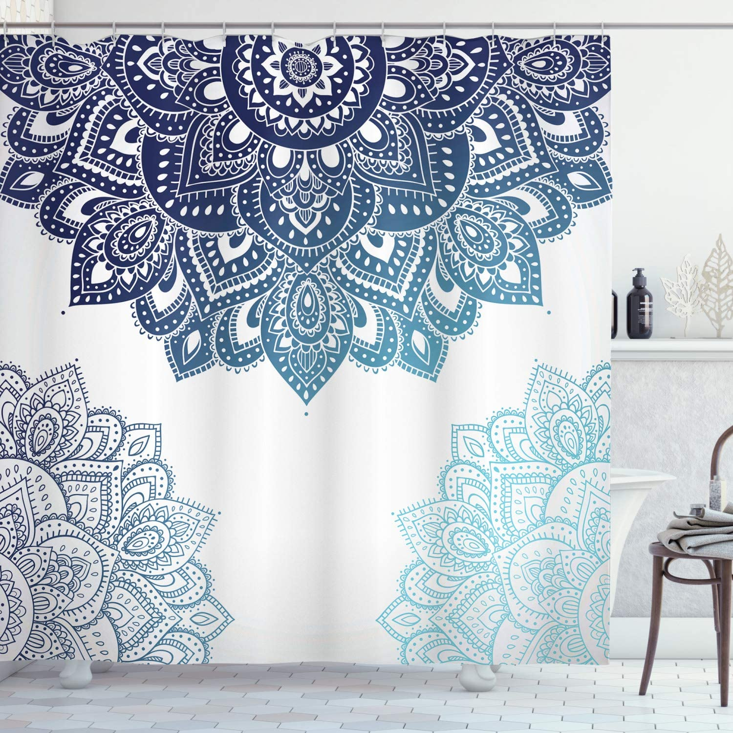 "Ambesonne Flora Shower Curtain, South Mandala Design with Vibrant Color Ornamental Illustration, Cloth Fabric Bathroom Decor Set with Hooks, 70"" Long, Blue"