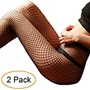 e9cb1793ad911 MERYLURE Black Fishnet Pantyhose 2 Pairs Women's Seamless Sheer Mesh Hollow  Out Tights Stockings (One Size, Medium Hole,2 Pack)