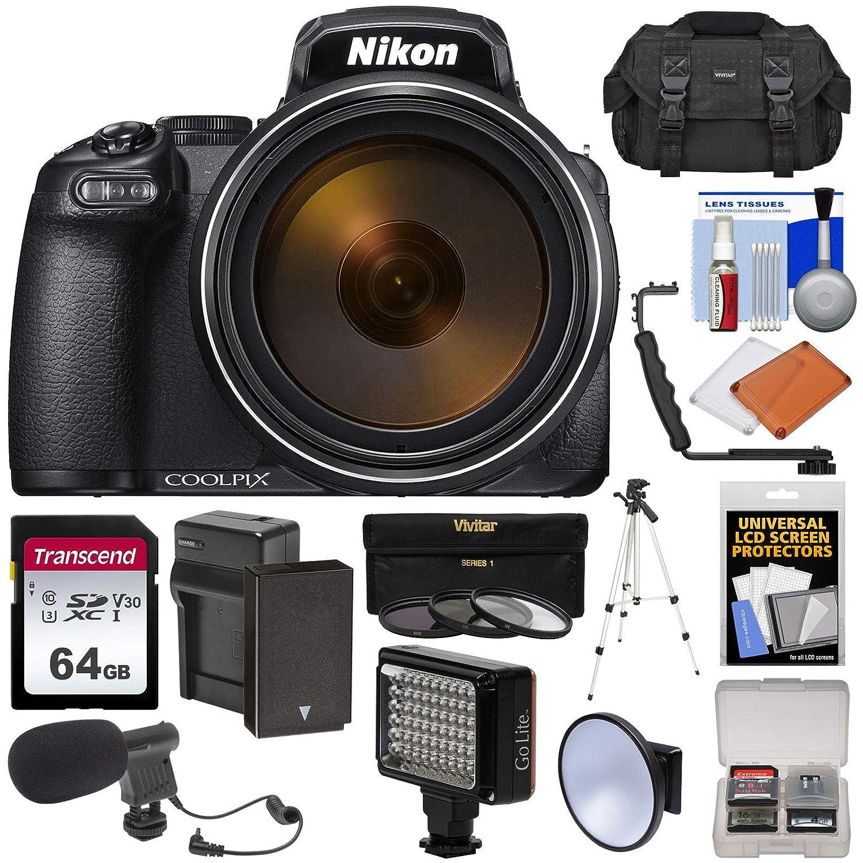ニコン Coolpix P1000 4K 125x スーパーズーム デジタルカメラ 64GBカード+バッテリー&充電器+ケース+三脚+LEDビデオライト&フラッシュ+マイクキット   B07FKSHHQK
