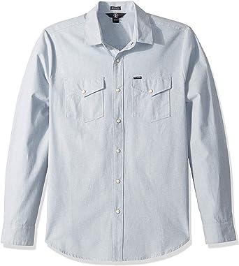 Volcom Hombre A0531802 Manga Larga Camisa de botones - Azul ...