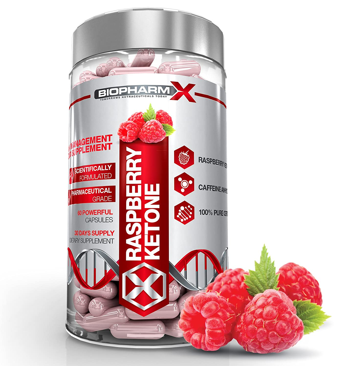 Biopharm X Natural Raspberry Ketone Extract Diet Pills Weight Loss Slimming Pills 60 Capsules 1 Month Supply