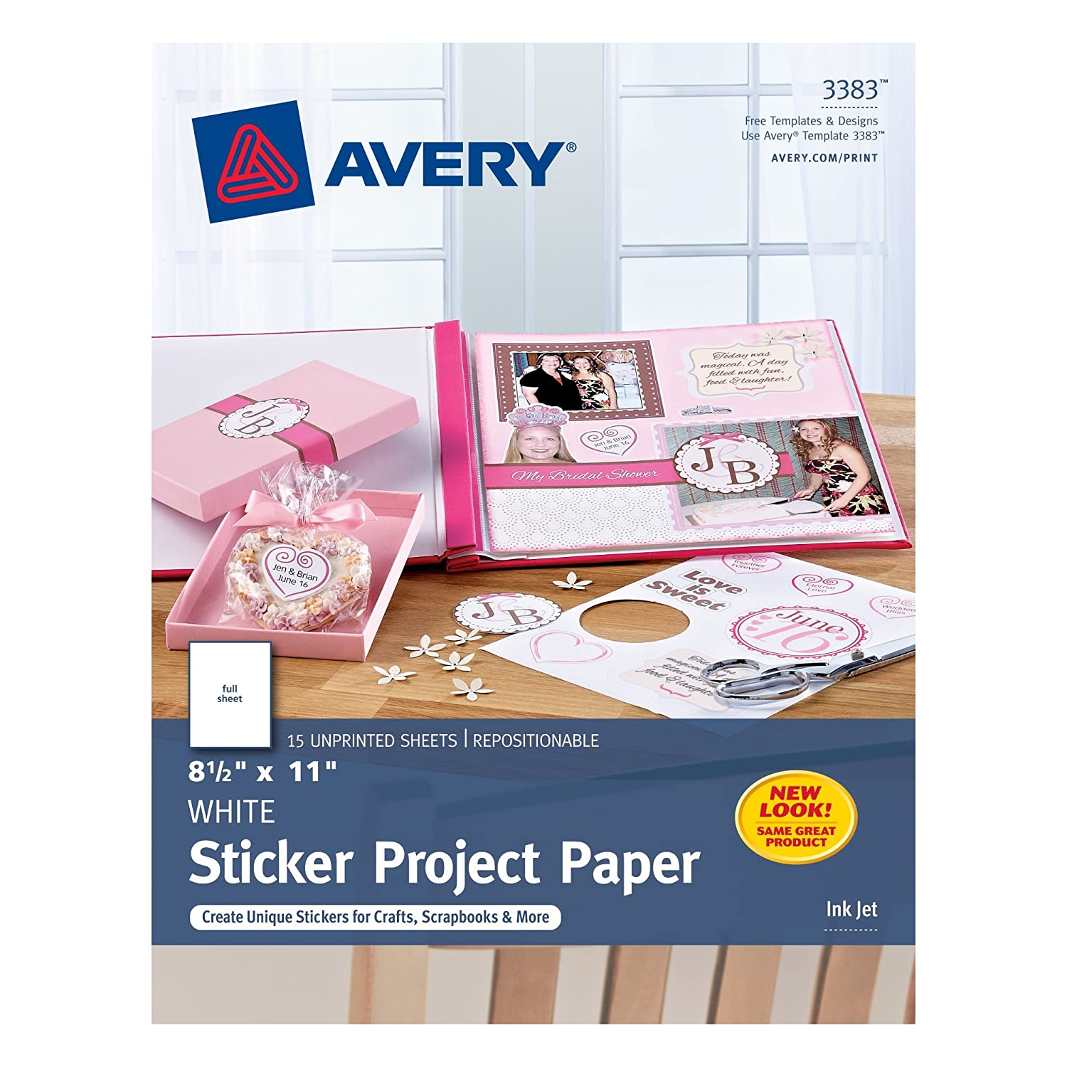 Amazon com avery 5007278203383 sticker project paper removable adhesive 8 1 2 x 11 pack of 15 case pack of 6 3383 office products