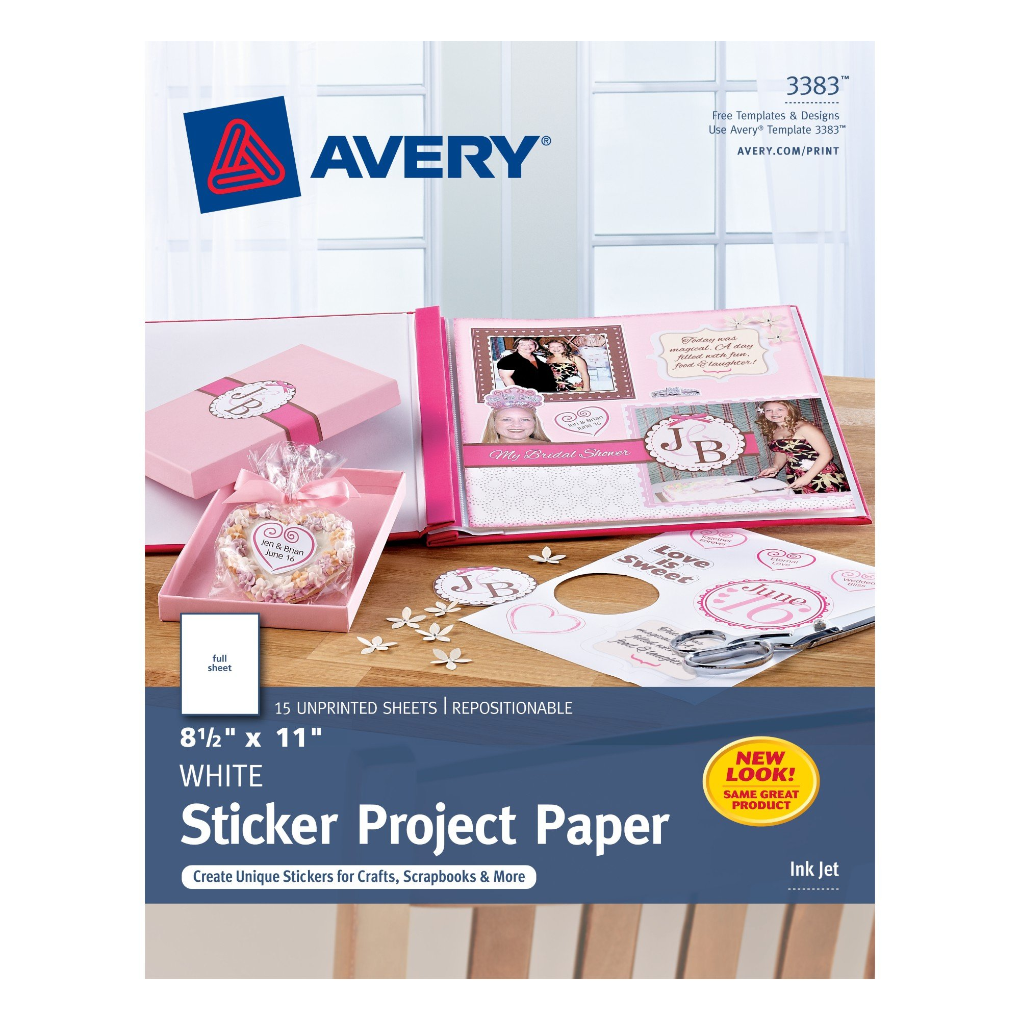 Avery 5007278203383 Sticker Project Paper, Removable Adhesive, 8-1/2'' x 11'', Pack of 15, Case Pack of 6 (3383)