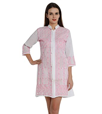 732797581b0 Indiankala4U Ladies Kurti Tops Hand Embroidered Chikankari Kurta Tops Shrug  Long Jacket for Women, Cotton: Amazon.co.uk: Clothing