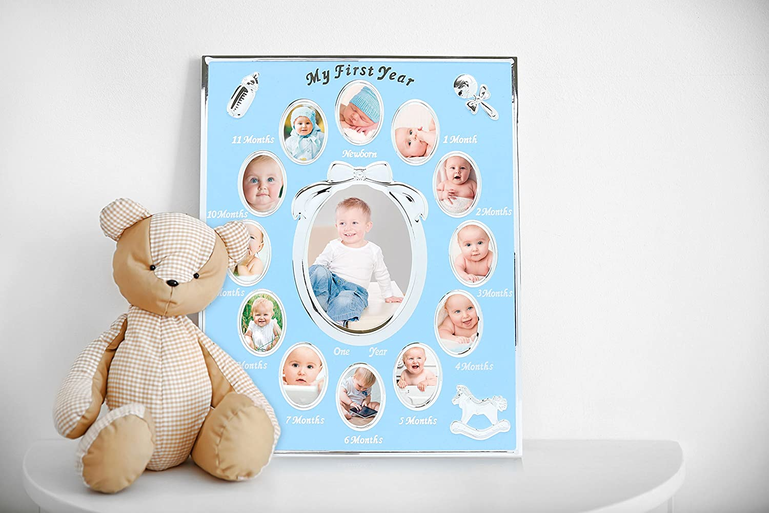 Tiny Ideas Baby Prints Collage Keepsake Frame with Included Ink Pad White//Black 97066 You are My Sunshine