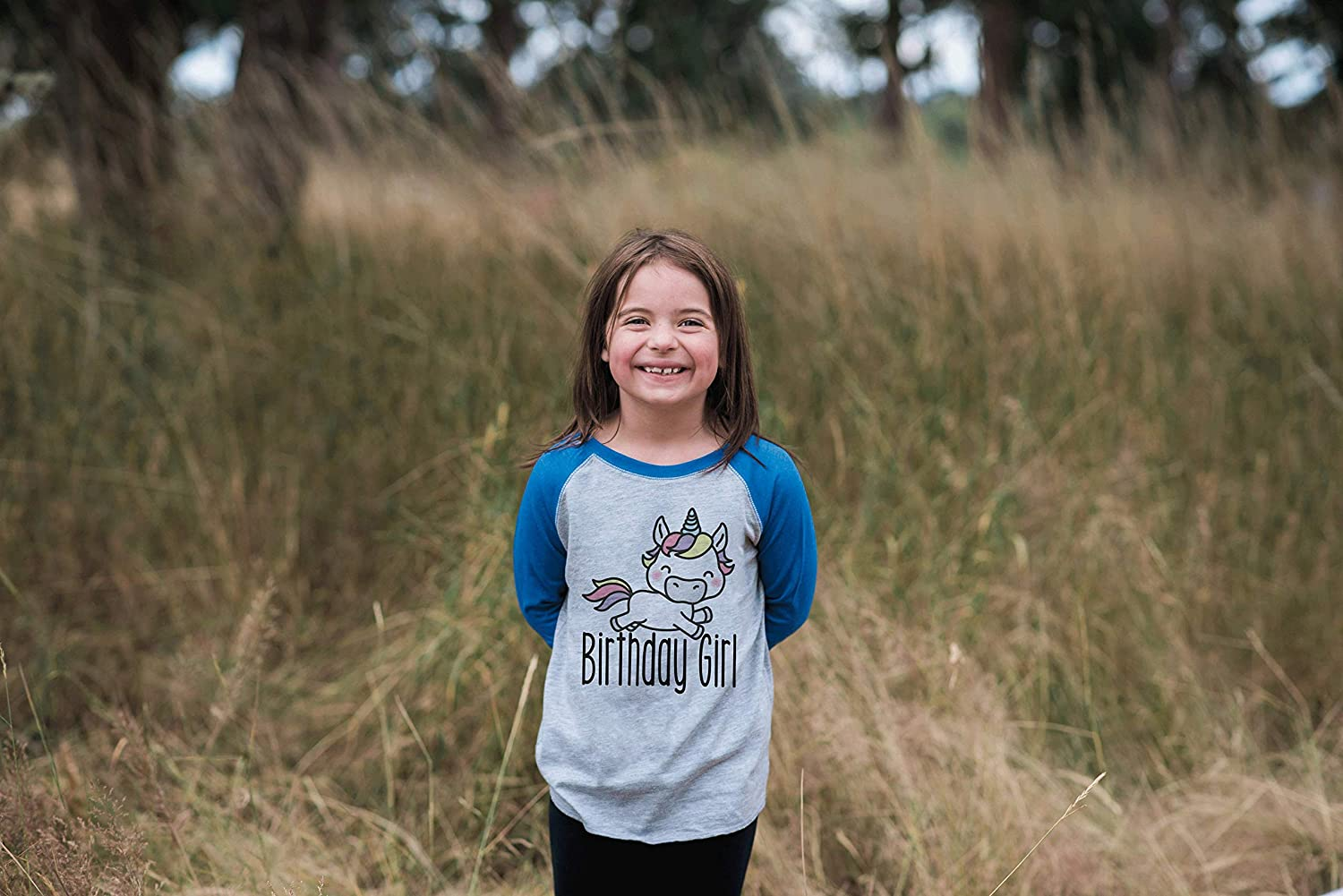 7 ate 9 Apparel Girls Unicorn Birthday Blue Raglan Tee