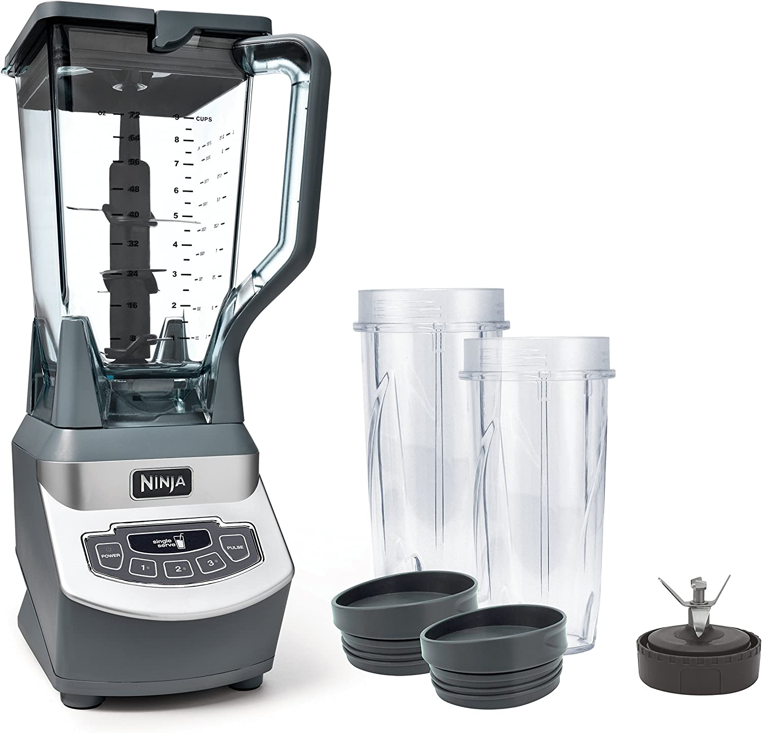 Ninja Professional Countertop Blender with 1100-Watt Base, 72 Oz Total Crushing Pitcher and (2) 16 Oz Cups for Frozen Drinks and Smoothies