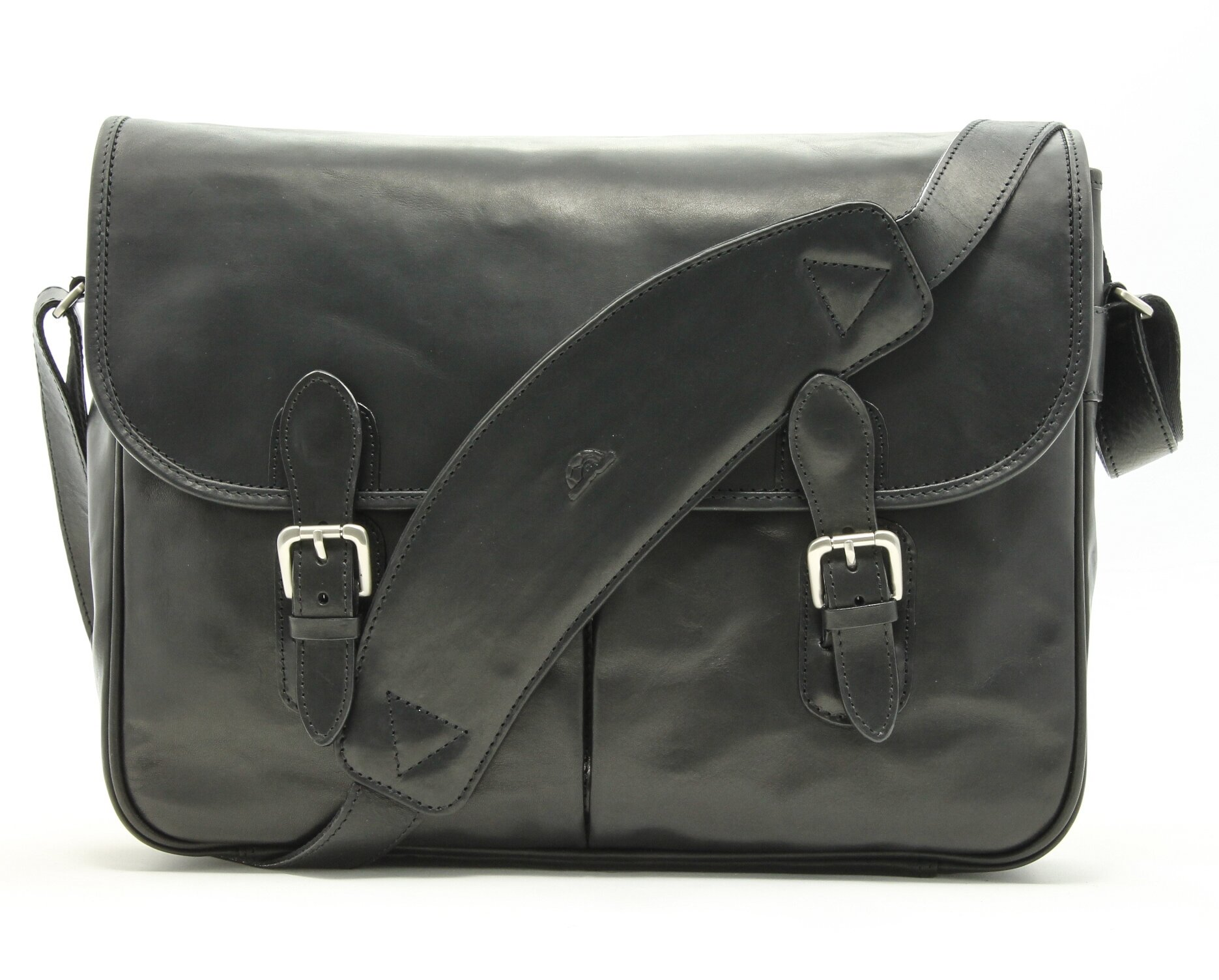 Tony Perotti Italian Leather Lorenzo 15.6'' Laptop Briefcase Messenger Shoulder Bag, Black, One Size